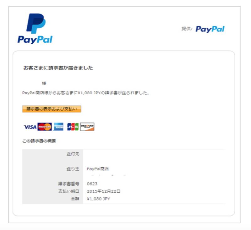 Paypal請求メールサンプル