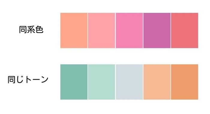 同系色とトーンの配色例