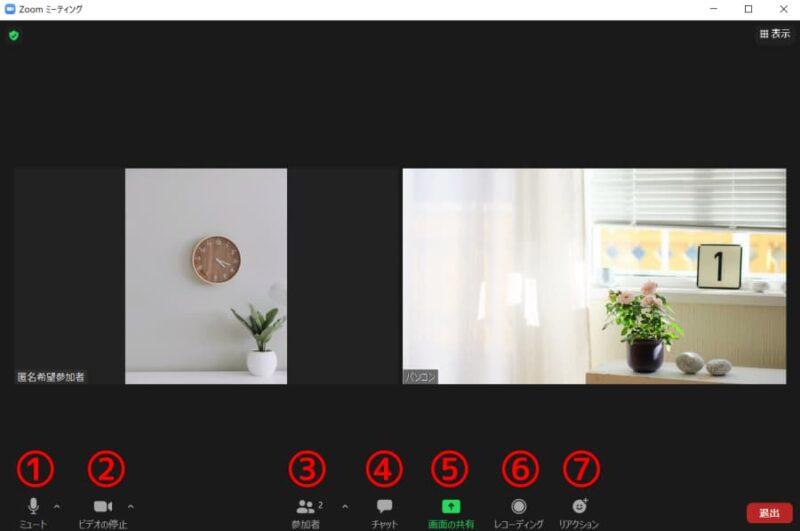 ズームのミーティング画面