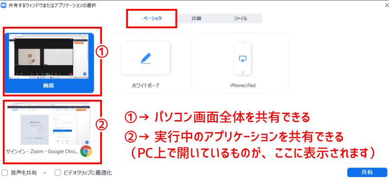 [画面の共有]→[ベーシック]
